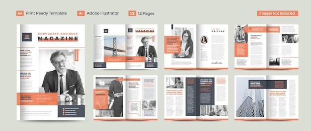 Conception de magazine d'affaires ou lookbook éditorial ou mise en page de journal polyvalent