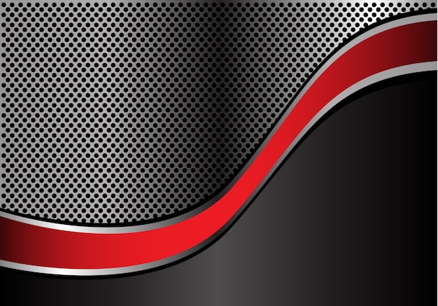 Conception de maille de cercle métallique abstrait ligne argent rouge courbe