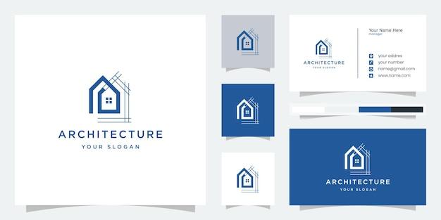 Conception de maison, architecture, logo immobilier et modèle de carte de visite