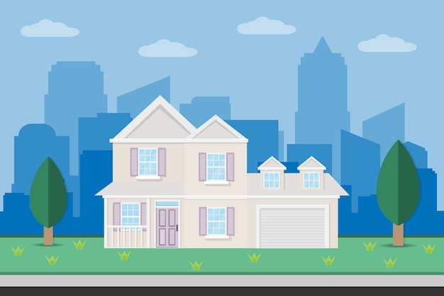 Conception de maison de construction de maison avec jardin