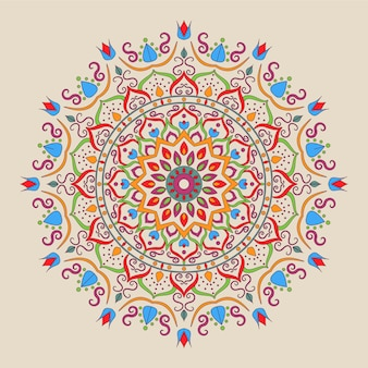 Conception de mandala coloré islamique ornemental sur fond blanc.