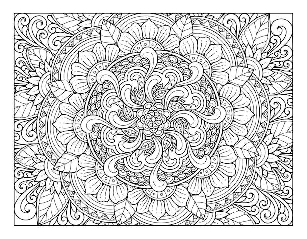 Conception de mandala à colorier pleine page