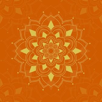 Conception de mandala sur la couleur orange
