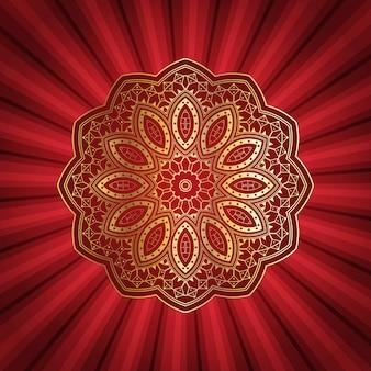 Conception de mandala décoratif sur fond de starburst