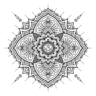 Conception de mandala du troisième œil. livre de coloriage ou impression de t-shirt.