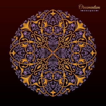 Conception de mandala floral arabesque doré vintage