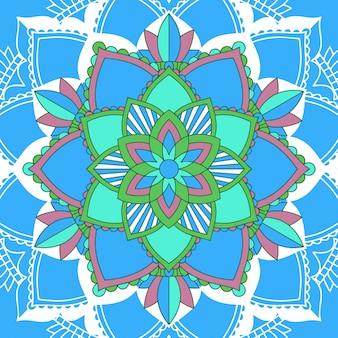 Conception de mandala sur fond bleu