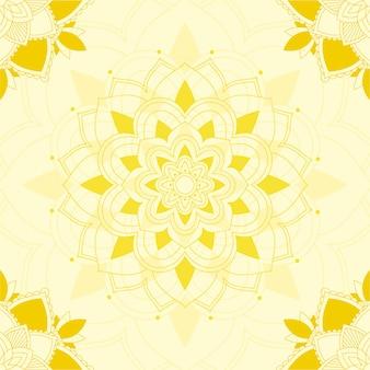 Conception de mandala sur fond jaune