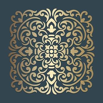 Conception de mandala ornée. motif carré ornemental.