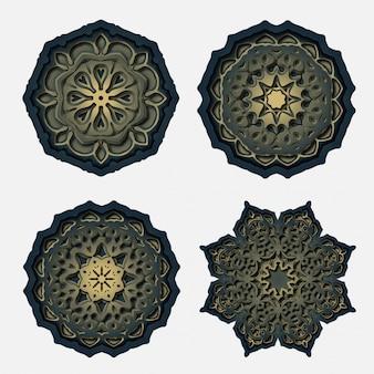Conception de mandala d'ornement, décoration de découpage au laser