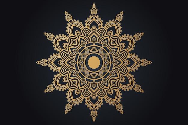 Conception de mandala ornemental de luxe couleur or