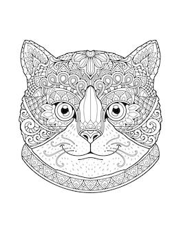 Conception de mandala page à colorier tête de chat. design d'impression.