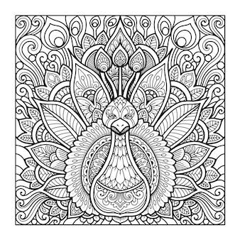Conception de mandala de paon pour cahier de coloriage