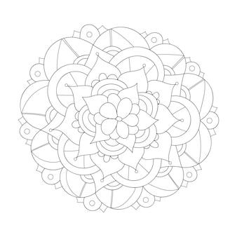 Conception de mandala rond ornement floral résumé doodle fond coloriage