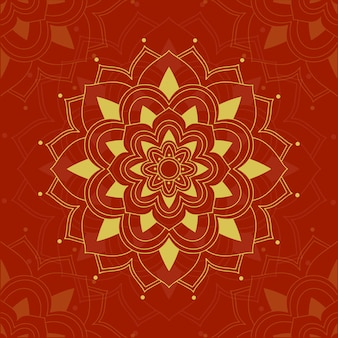 Conception de mandala sur rouge