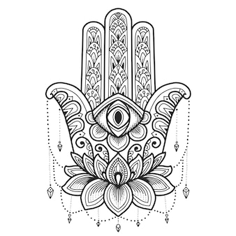 Conception de mandala. symbole hamsa