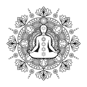 Conception de mandala de yoga, coloriage adulte ou conception de t-shirt