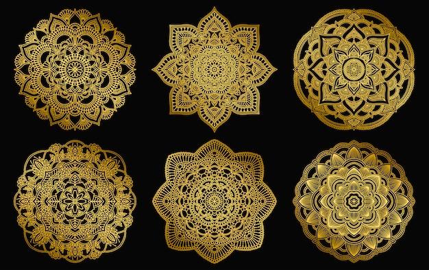 Conception de mandalas d'or. ethnique ornement dégradé rond. motif indien dessiné à la main. thème de méditation yoga henné mehendi. imprimé floral unique.