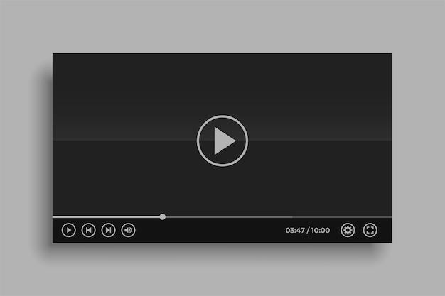 Conception de maquette de lecteur vidéo noir de médias sociaux