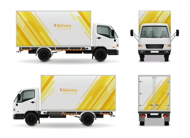 Conception de maquette de publicité de véhicule cargo réaliste en vue de côté de couleur blanche jaune, illustration vectorielle avant et arrière