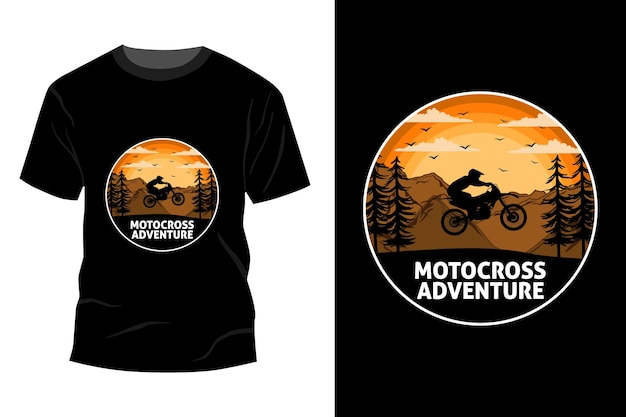 Conception de maquette de t-shirt aventure motocross vintage rétro