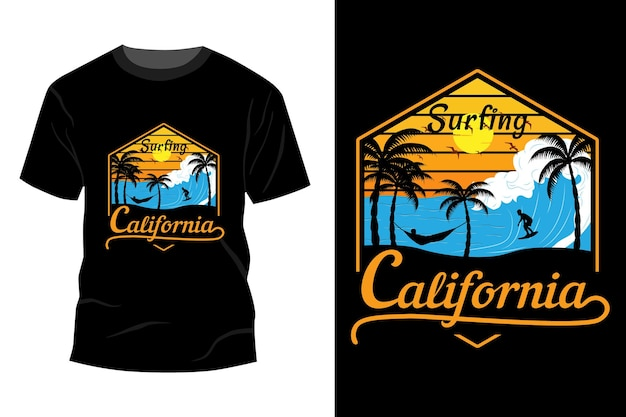 Conception de maquette de t-shirt de californie de surf vintage rétro