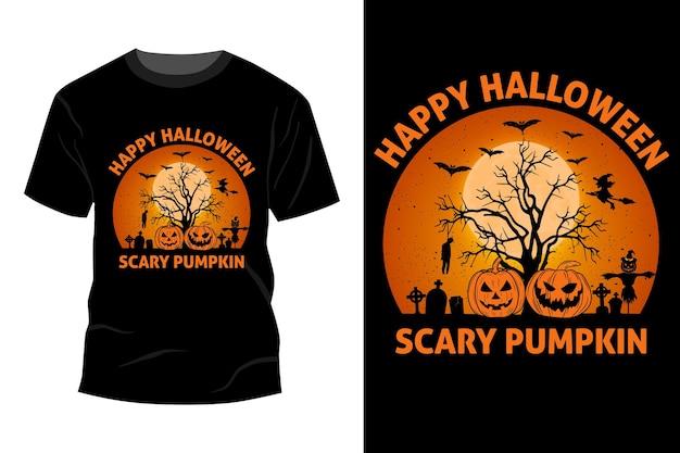 Conception de maquette de t-shirt citrouille effrayant halloween heureux rétro vintage