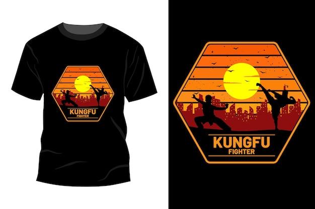 Conception de maquette de t-shirt de combattant vintage rétro