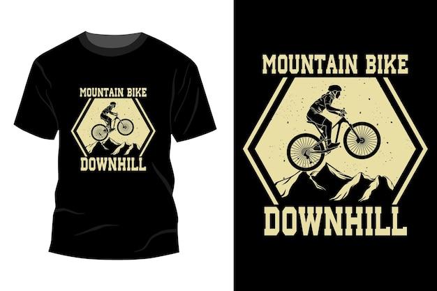 Conception de maquette de t-shirt de descente de vélo de montagne vintage silhouette