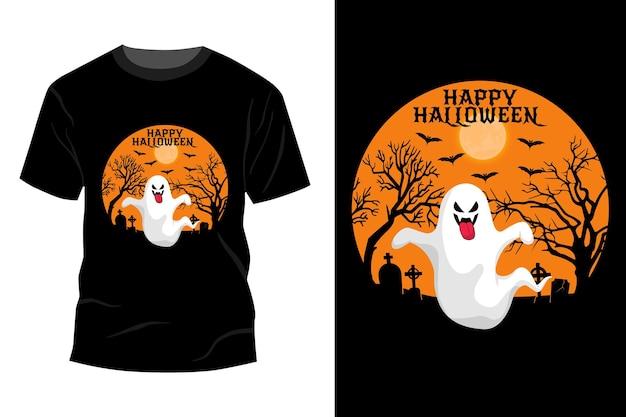 Conception de maquette de t-shirt fantôme halloween heureux rétro vintage