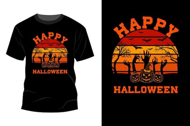 Conception de maquette de t-shirt halloween heureux rétro vintage