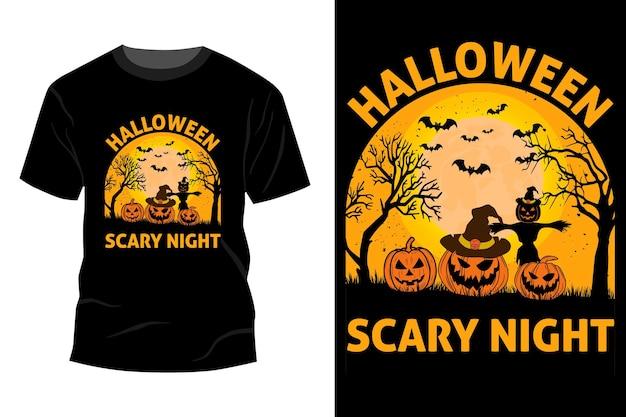 Conception de maquette de t-shirt halloween nuit effrayante vintage rétro