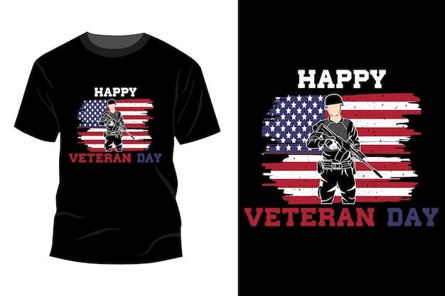 Conception de maquette de t-shirt joyeux jour des vétérans rétro vintage