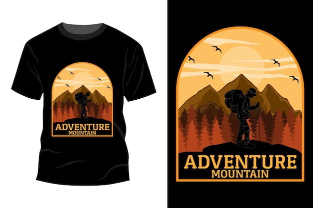 Conception de maquette de t-shirt de montagne d'aventure vintage rétro