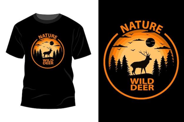 Conception de maquette de t-shirt nature cerf sauvage rétro vintage