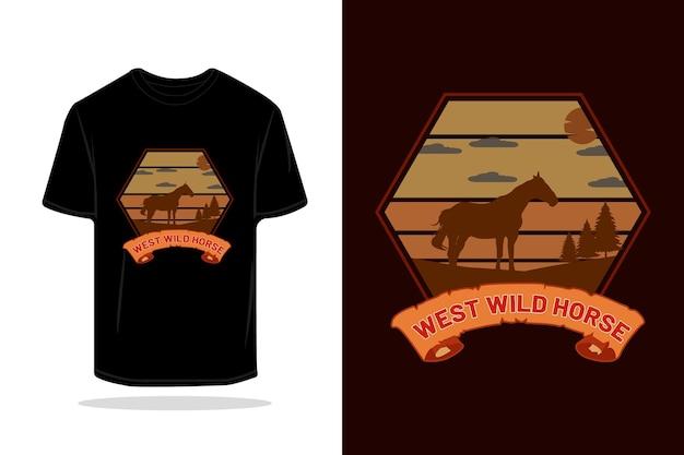 Conception de maquette de t-shirt rétro de silhouette de cheval du far west