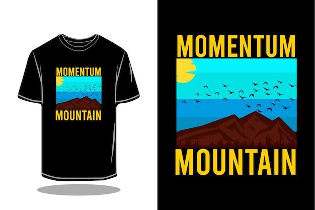 Conception de maquette de t-shirt rétro silhouette montagne momentum