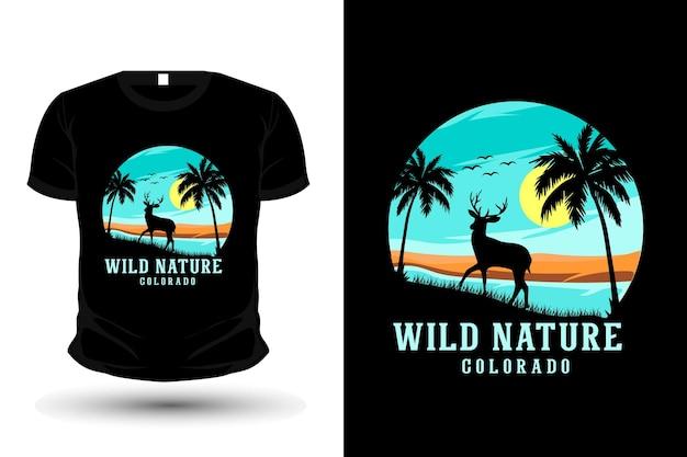 Conception de maquette de t-shirt silhouette nature sauvage colorado