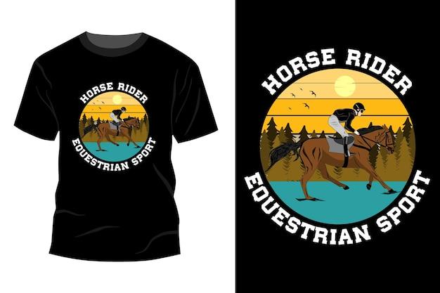 Conception de maquette de t-shirt de sport équestre de cavalier de cheval rétro vintage