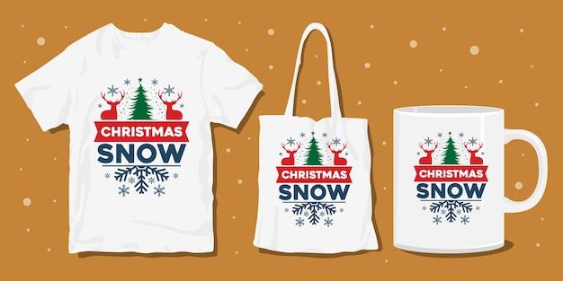 Conception de marchandises de t-shirt de typographie d'hiver de noël