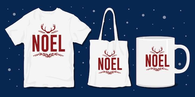 Conception de marchandises de t-shirt de typographie de noël