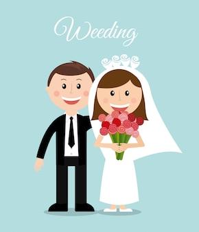Conception de mariage sur illustration vectorielle fond bleu