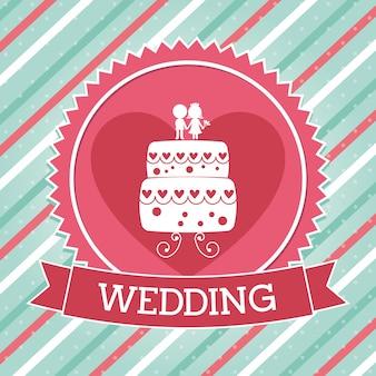 Conception de mariage sur illustration vectorielle fond linéaire