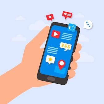 Conception de marketing de médias sociaux avec mobile