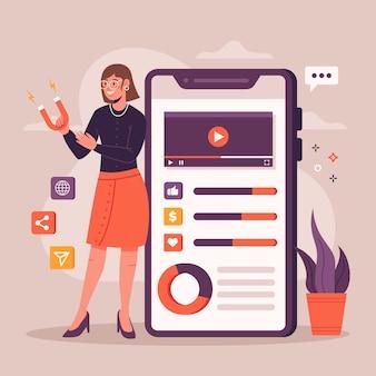 Conception de marketing des médias sociaux sur téléphone