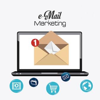 Conception de marketing par courriel.