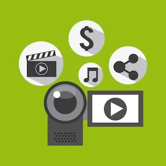 Conception de marketing vidéo, illustration vectorielle eps10 graphique