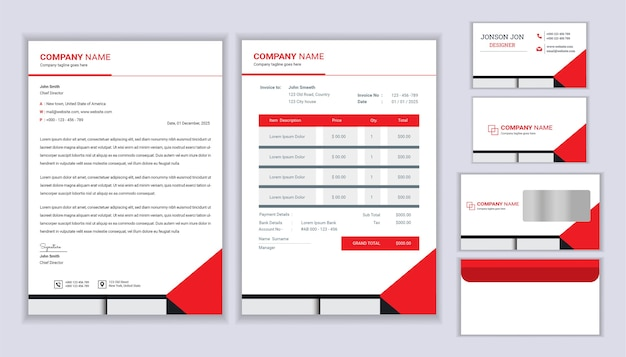 Conception de marque d'entreprise de papeterie classique avec modèle de papier à en-tête, facture et carte de visite.