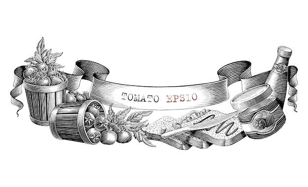 Conception de marque de tomate pour l'étiquette de produit main dessiner vintage style de gravure clipart noir et blanc isolé sur fond blanc