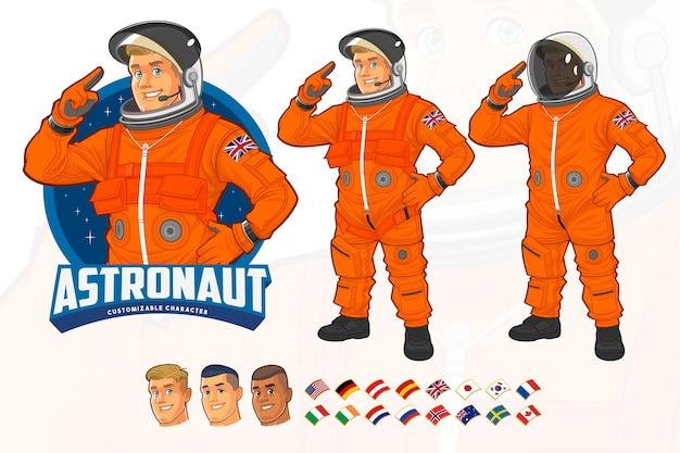 Conception de mascotte d'astronaute portant un costume orange